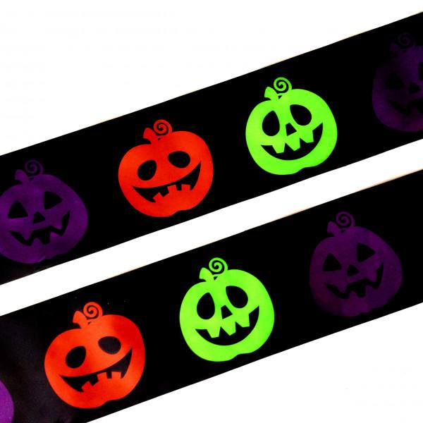 7,6 Meter Absperrband KÜRBIS bunt Horror Halloween Gruselparty