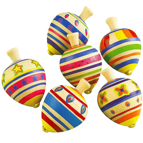 6 x Holz Kreisel Kindergeburtstag Mitgebsel Preis Kinderspiel Geburtstag Giveaway Holzkreisel Ostern