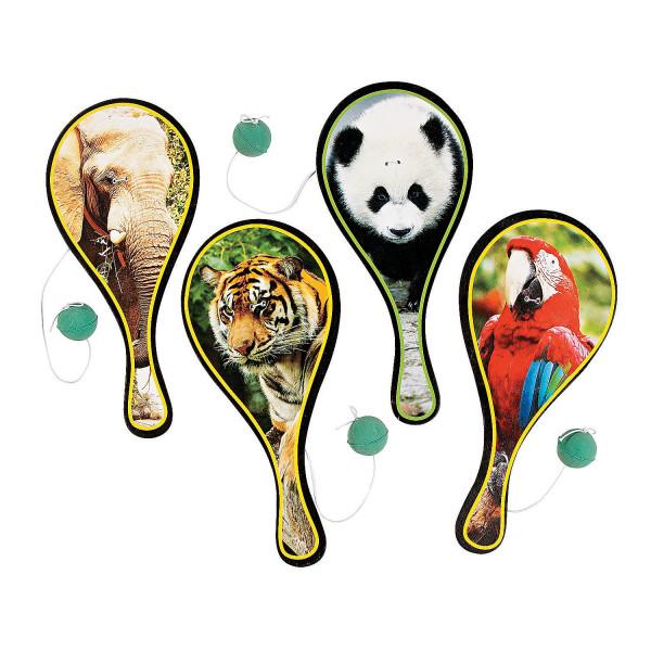 6 x Tier Zoo Ballspiel Spiel Geschicklichkeitsspiel Paddleball Tiere Mitgebsel Giveaway