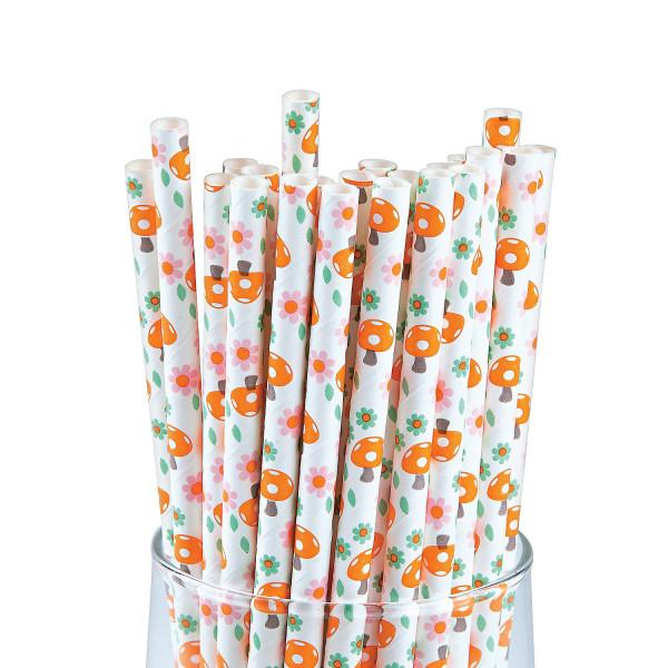 12 x Strohhalm Papier Glückspilz Fliegenpilz Trinkhalm Blume Sommer Kindergeburtstag