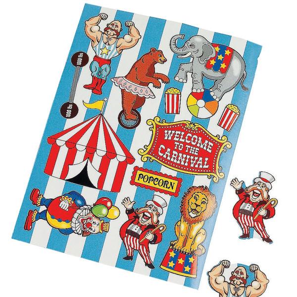 1 Bogen mit 12 Stickern Nostalgie Zirkus Aufkleber Zoo Tiere nostalgisch Mitgebsel Geburtstag Zirkus