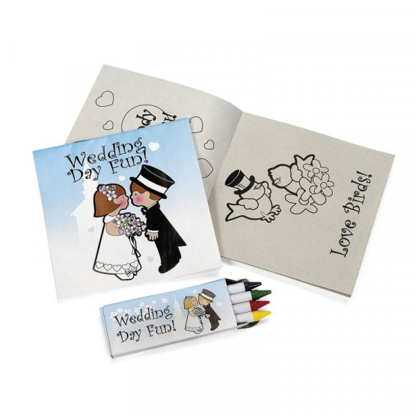 8 x Hochzeit Malheft + Wachsstifte Kinder Zeichenbuch Malset Malbuch Just Married Stifte