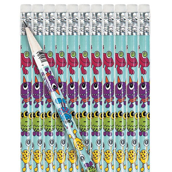 12 x Monster Bleistifte mit Radiergummi Mitgebsel Monsterparty Kindergeburtstag Schule Schulanfang S
