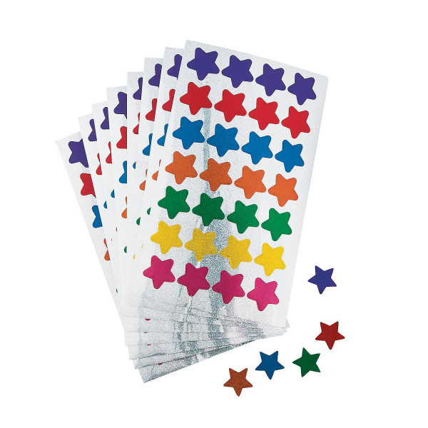 5 x Sticker Sterne Glitzer Aufkleber Kindergeburtstag selbstklebend Farben bunt