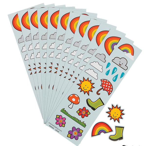12 Bögen Sticker Allwetter Regenbogen Gummistiefel Sonne Blume Fliegenpilz