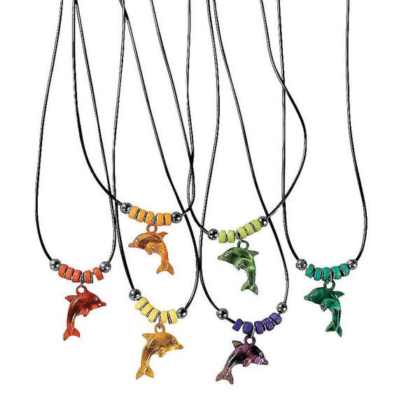 6 x Delfin Halskette Kette Mitgebsel Kindergeburtstag Party Gewinn Delfinparty Meerjungfrau