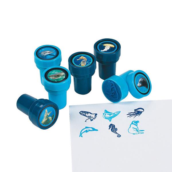 6 x Stempel Meerestiere Mitgebsel Hai Delfin Qualle Kinderstempel Giveaway Geburtstag Adventskalende