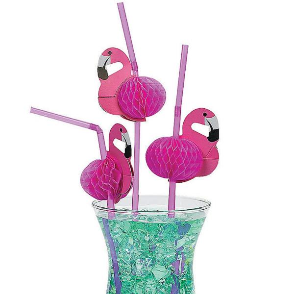 12 x Strohhalme Trinkhalm Flamingo Sommerparty Hawaii Party Sommerfest Strandparty