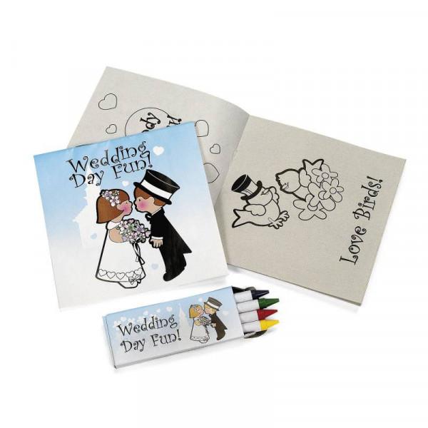 2 x Hochzeit Malheft + Wachsstifte Kinder Zeichenbuch Malset Malbuch Just Married Stifte
