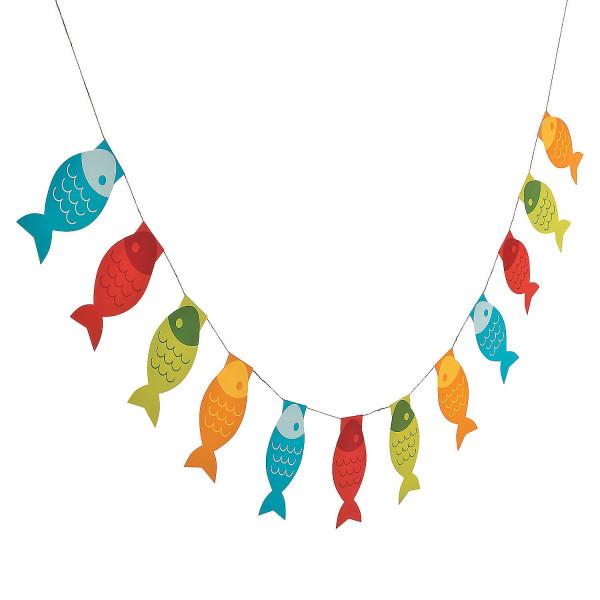 1 x Girlande Fisch Deko Tierparty Sommerparty Angler Kindergeburtstag Dekoration Angeln