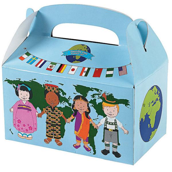 6 x Faltschachtel Box Kiste Kindergeburtstag Kinder dieser Welt Erde Schatz Multikulturell