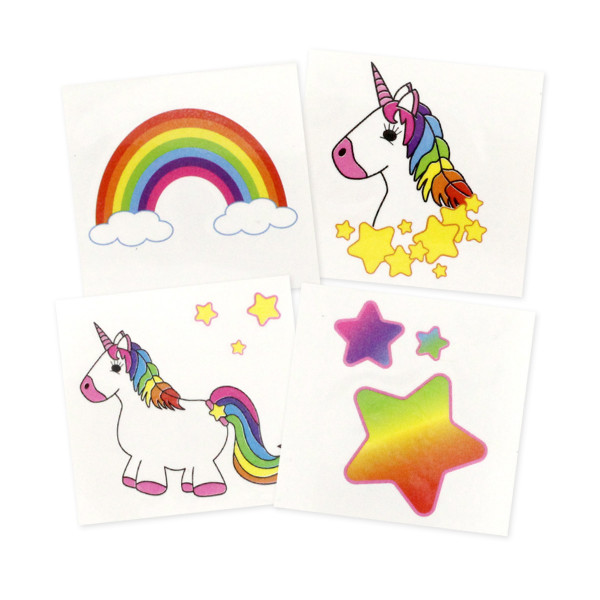 Einhorn Klebetattoos - Tattoos mit Einhorn Regenbogen und Stern Bildern - Mitgebsel für Kindergeburt