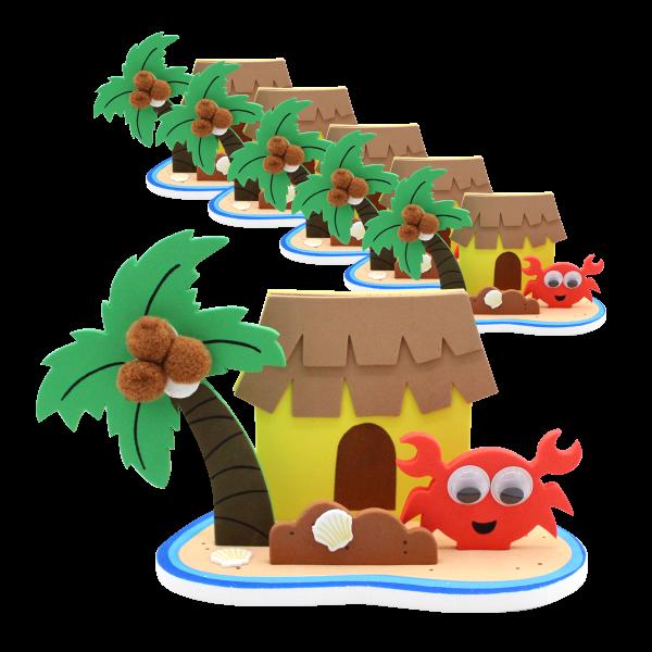 6 x Insel Hawaii Sommerparty Bastelset Planschbecken Spielzeug Basteln Mitgebsel Geburtstag