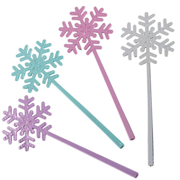 6 x Schneeflocke Zauberstab Eisblume Prinzessin Kindergeburtstag Mitgebsel Mitbringsel