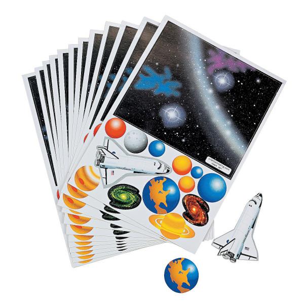 10 x Weltraum Aufkleber Space Weltall Shuttle Sterne Planeten Kindergeburtstag Mitgebsel Giveaway