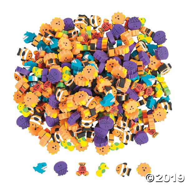 50 x Radiergummi Radierer Seelife, Mini, Ozean, Fisch, Qualle, Seepferdchen, Kindergeburtstag, Dekor