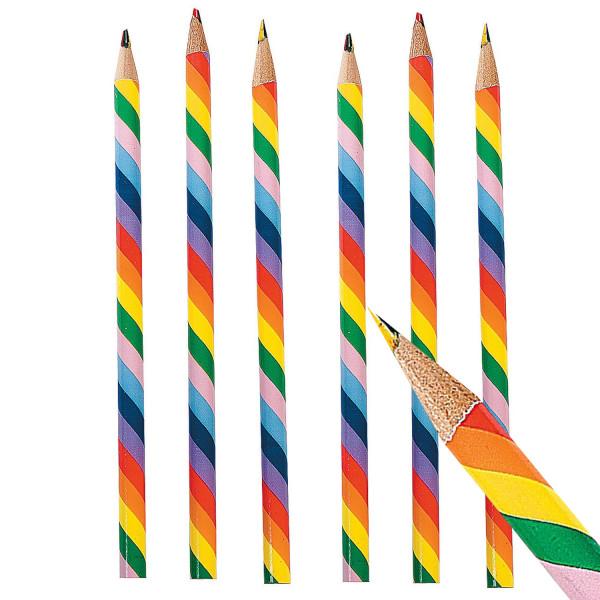 6 x Buntstifte Stift Regenbogen mehrfarbig Malen Basteln Bleistift Mitgebsel Kindergeburtstag Kinder