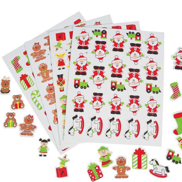 116 x Sticker Moosgummi Weihnachten Weihnachtsmann Schneemann Wichtel Aufkleber Nikolaus