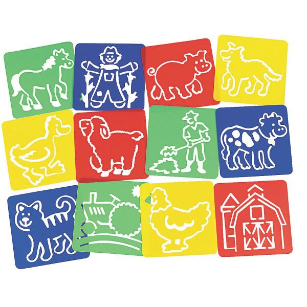 12 x Schablonen Bauernhof Zeichnen Tiere Malen Pferd Kindergeburtstag Huhn Mitgebsel Giveaway Hund K