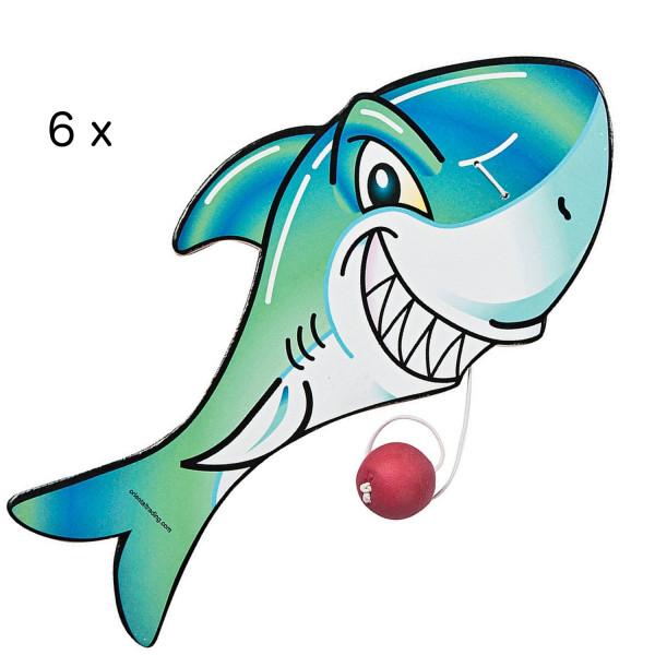 6 x Hai Paddleball Ballspiel Shark Spiel Kindergeburtstag Piratenparty Sommerparty Piraten Meerjungf