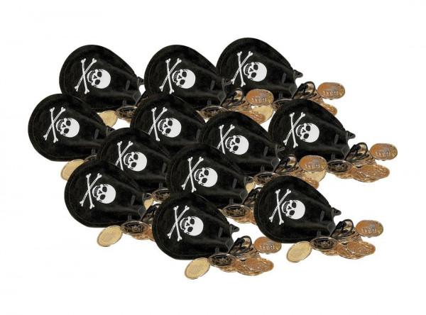 6 Stück Piratenbeutel mit Goldmünzen Schatzbeutel Piraten Schatz Piratenschatz Piratenpary