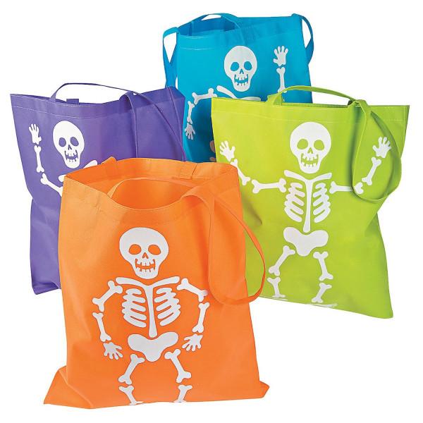 4 x Halloween Skelett XXL Tasche Beutel Halloweenparty Gespensterparty Kindergeburtstag Mitgebsel