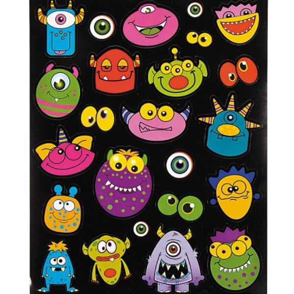 12 große Bögen Monster Sticker Aufkleber Monsterparty Kindergeburtstag Giveaway Mitgebsel Geburtstag