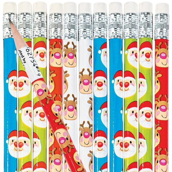 12 x Bleistift Weihnachtsmann und Rentier - Adventskalender Adventskalenderfüllung und Mitgebsel