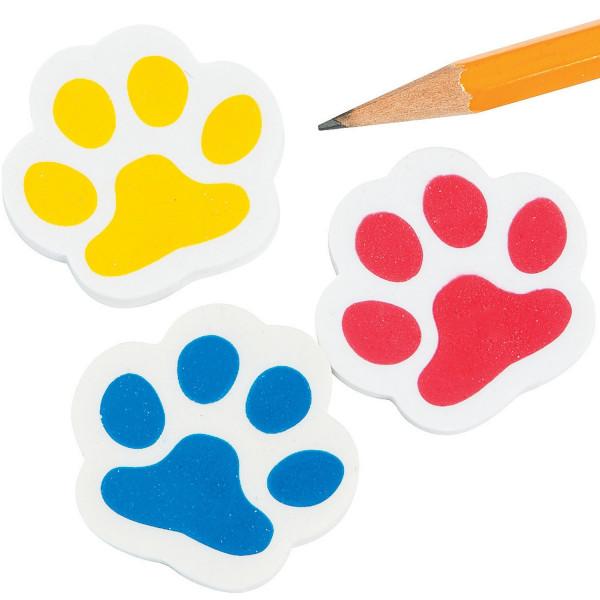 6 x Pfoten Radiergummi Radierer mit Pfotenabdruck Hund Katze Tatze also Mitgebsel für den Kindergebu
