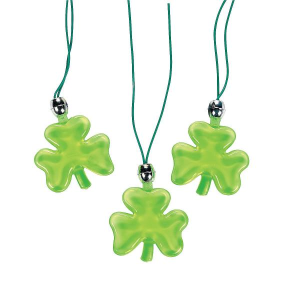 3 x Kleeblatt leuchtend - Glücksbringer Kette Halskette Giveaway Kindergeburtstag