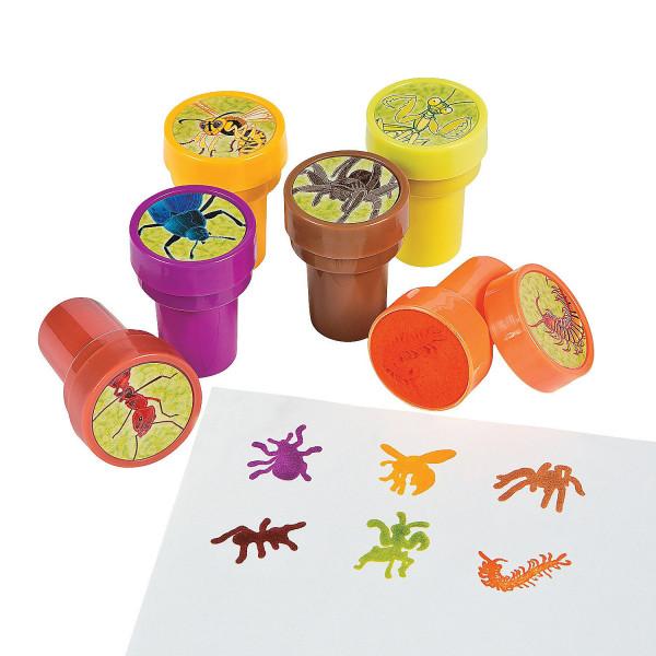 6 x Insekten Stempel Kinderstempel Geburtstag Kindergeburtstag Mitgebsel Forscher Spinne Biene