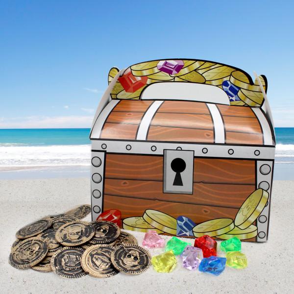 6 x Piraten Schatztruhe Schatzkiste Tüte Mitgebsel Geschenketüte Kindergeburtstag GiveAway