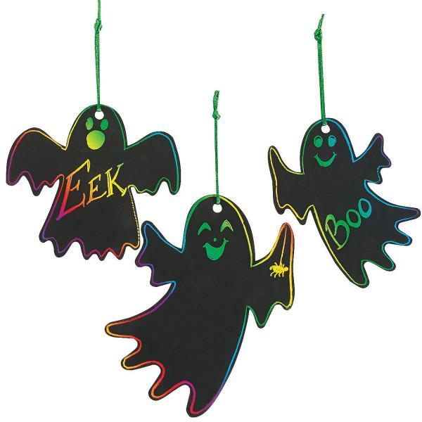 24 x Kratzbilder Gespenster für Halloween Dekoration Bastelidee DIY Anhänger