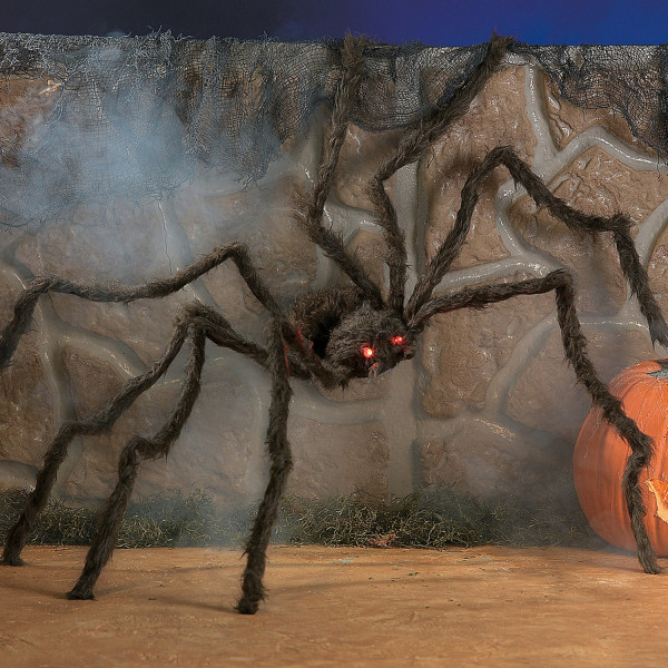 Riesige SPINNE mit HAAREN + LED Augen und biegsamen Beinen Halloween HORROR Vogelspinne