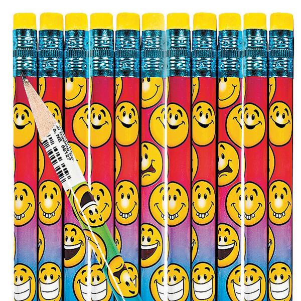 12 x Bleistifte mir Radiergummi Smiley Emojis für Schulanfang Mitgebsel oder Kindergeburtstag