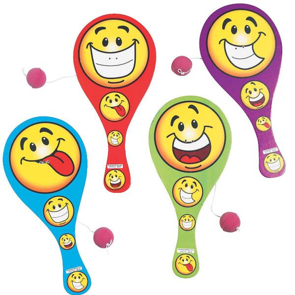 6 x Paddleball Smiley Geschicklichkeitsspiel für Kindergeburtstag