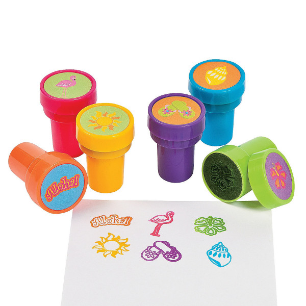 6 x Stempel Aloha Hawaii Kindergeburtstag Kinderstempel Sommerparty Mitgebsel Giveaway Kinderparty