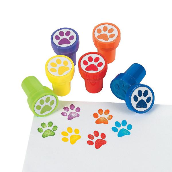 6 X Stempel Pfote Kinderstempel Pfotenabdruck Tiere Hund Katze Mitgebsel